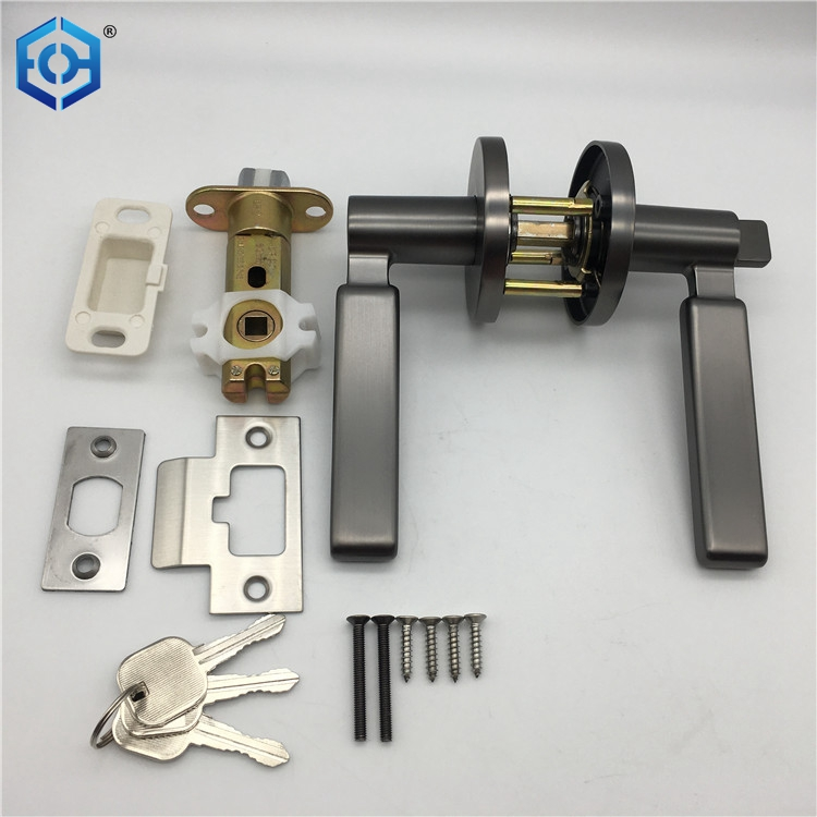 Gun Black Zinc Alloy Locking Lever Handle Lock Hardware Tubular Cylinder Entry Door Key