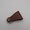 Brown Leather Konb Zinc Alloy Single Hole Pull Handle for Wardrobe Cabinet