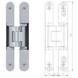 3d Adjustable Invisible Hinge Heavy Duty Zinc Alloy 180 Degree Concealed Door Hinges
