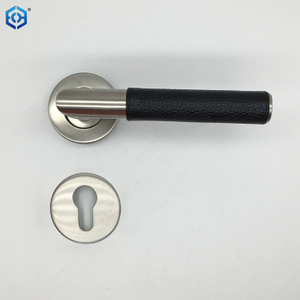 Luxury Style Hollow Rube Stainless Steel Leather Door Handle For Interior Door