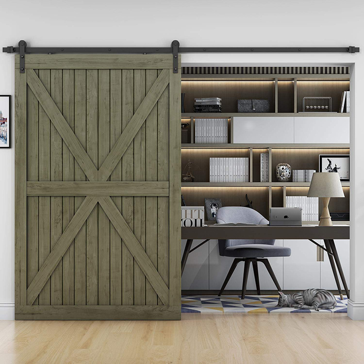 6.6 Ft Country Classic I Shape Interior Wood Sliding Barn Door Hardware Manufacturers