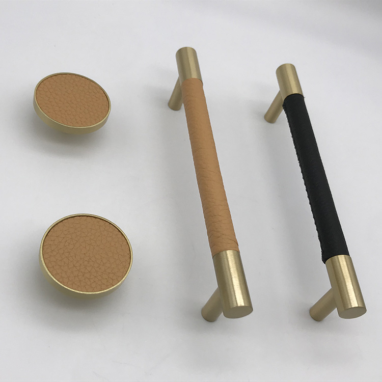 OEM 2020 New Black Matt Brushed Brass And Leather Aluminum Knurled Furniture Cabinet Door Handles Pull
