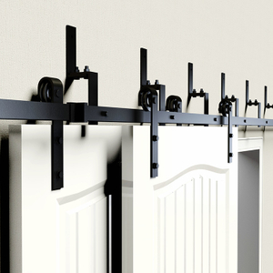 Double Open Wooden Partition Sliding Barn Door Carbon Steel Hardware Bypass Brackets