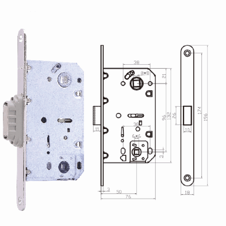 5096 Wooden door lock mortise mute magnetic lock body
