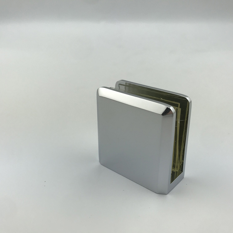 PSS Stainless Steel Flat Back Brushed D Shaped Small Square Glass Clamp