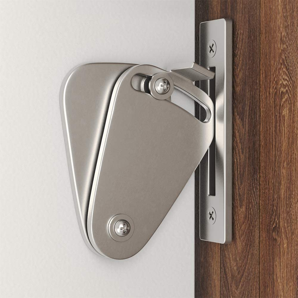 Barn Door Lock Hardware Stainless Steel Sliding Privacy Latch for Closet Shed Pocket Doors Wood Gates –Brushed Nickel