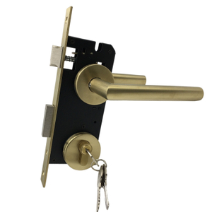 Hot Sale Home Furniture Hardware Brass Round Lever Door Handle With Mortise Lock Cylinder