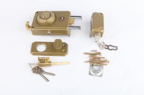 Deadbolt Lock Peru Lock with Brass Cylinder Door Rim Lock