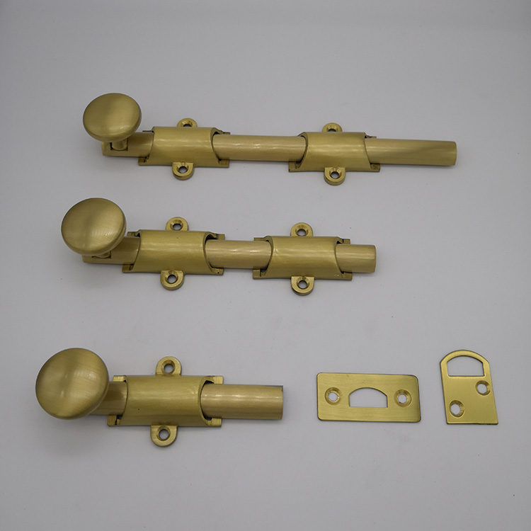 24 traditional style surface door bolt in solid brass finish AC