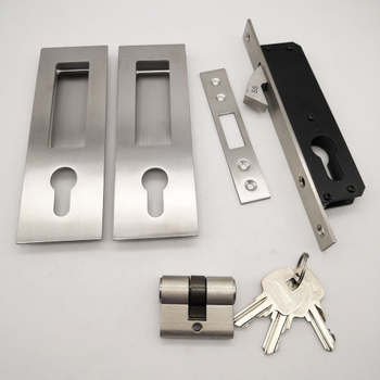 Luxury Sliding Door Lock with Keys Invisible Move Gate Lockset Handle Embedded Lock Hook