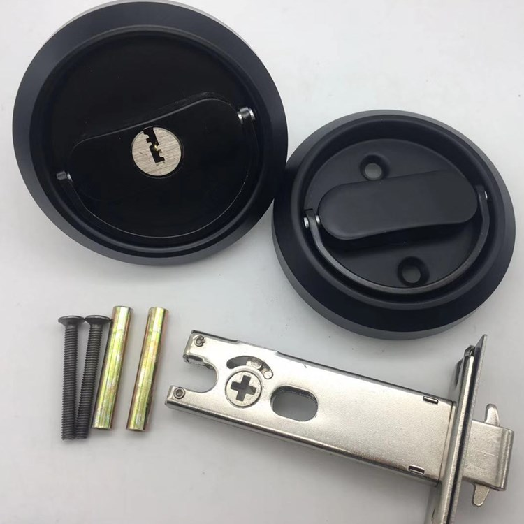 ECH black 304 stainless steel sliding pocket privacy door lock for wooden doors