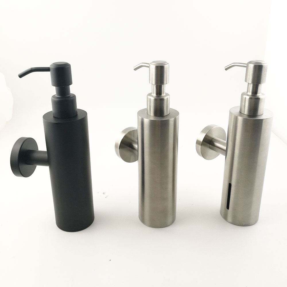 304 ss Round design squeeze hotel bathroom kitchen hand free stand Stainless steel Black Soap Dispenser