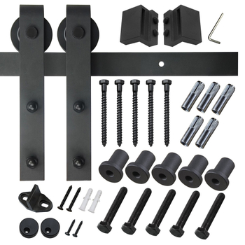 Medium size Black Carbon Steel Sliding Barn Door Hardware for Commercial and Residential Using